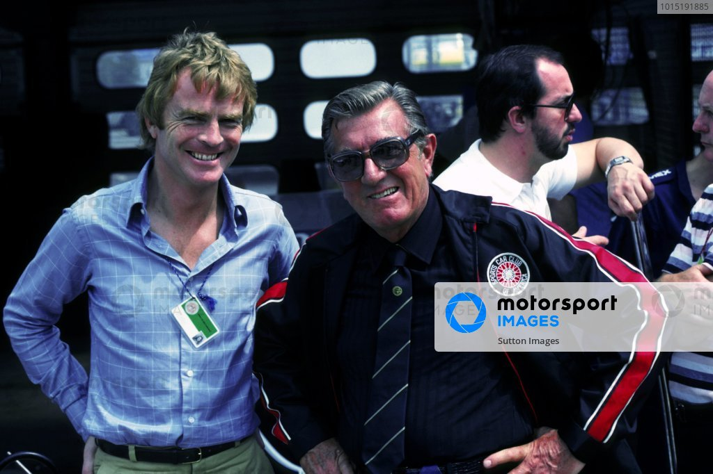 (L to R): Max Mosley (GBR) legal adviser to FOCA with Jean Marie Balestre (FRA) President FISA.   United States Grand Prix (West), Long Beach, 15 March 1981.