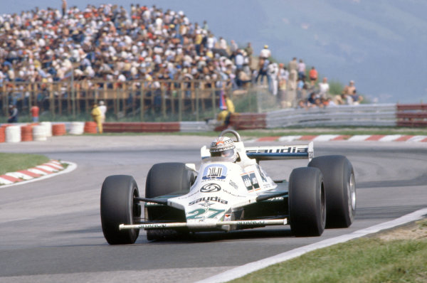 Osterreichring, Zeltweg, Austria. 15-17 August 1980. Alan Jones, Williams FW07B-Ford Cosworth, 2nd position. World Copyright: LAT Photographic. Ref: 80AUT09