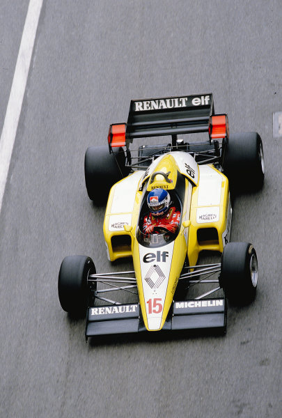1984 Monaco Grand Prix.Monte Carlo, Monaco.31/5-3/6 1984.Patrick Tambay (Renault RE50).Ref-84 MON 57.World Copyright - LAT Photographic