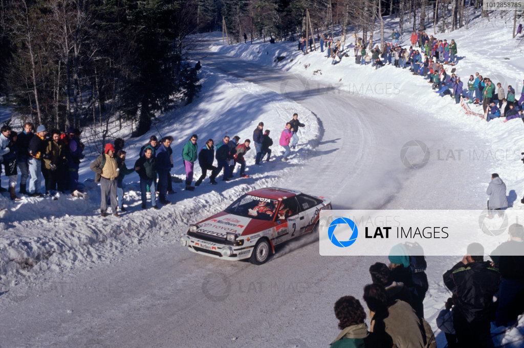 1991 FIA World Rally ChampionshipMonte Carlo Rally. 24th - 30th January.Carlos Sainz and Luis Moya (Toyota Celica)World Copyright: LAT Photographicref: 35mm Transparency Image