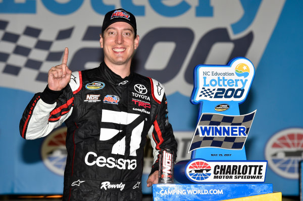 NASCAR Camping World Truck Series North Carolina Education Lottery 200 Charlotte Motor Speedway, Concord, NC USA Friday 19 May 2017 Kyle Busch, Cessna Toyota Tundra celebrates his win in Victory Lane World Copyright: Nigel Kinrade LAT Images ref: Digital Image 17CLT1nk04966