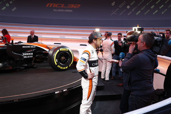 McLaren MCL32 Honda Formula 1 Launch. McLaren Technology Centre, Woking, UK. Friday 24 February 2017. Fernando Alonso, McLaren, is interviewed by the media. World Copyright: Glenn Dunbar/LAT Images Ref: _31I9582