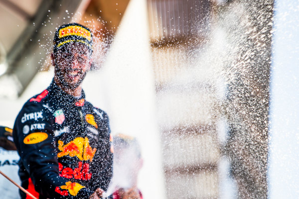 Circuit de Catalunya, Barcelona, Spain. Sunday 14 May 2017. Daniel Ricciardo, Red Bull Racing, 3rd Position, sprays the Champagne. World Copyright: Dom Romney/LAT Images ref: Digital Image GT2R1893
