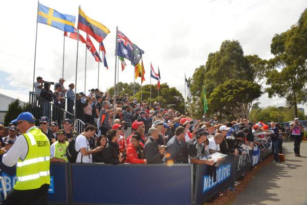 Fans in the Melbourne walk grandstand at Formula One World Championship, Rd1, Australian Grand Prix, Preparations, Albert Park, Melbourne, Australia, Thursday 12 March 2015.