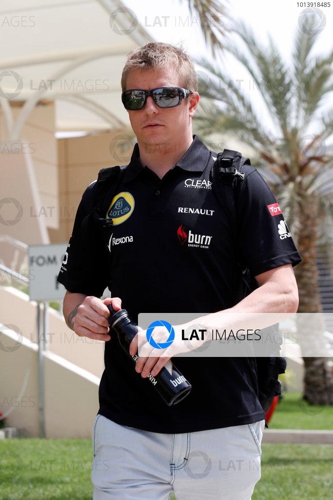 Bahrain International Circuit, Sakhir, Bahrain Thursday 18th April 2013 Kimi Raikkonen, Lotus F1.  World Copyright: Charles Coates/LAT Photographic ref: Digital Image _N7T8114