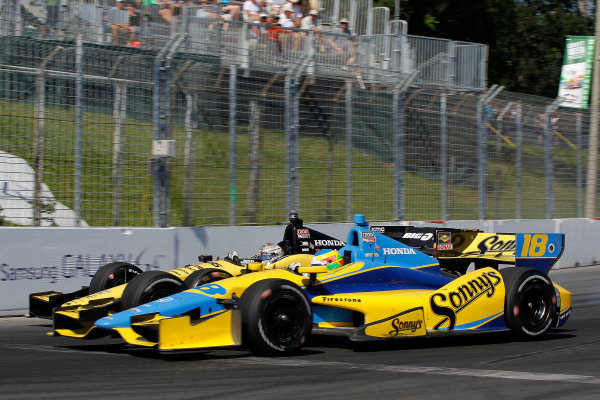 14 July, 2013, Toronto, Ontario CA Mike Conway challenges Graham Rahal into turn 3 .(c)2013, Todd Davis LAT Photo USA