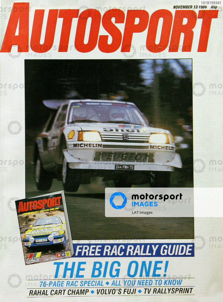 Cover of Autosport magazine, 13th November 1986