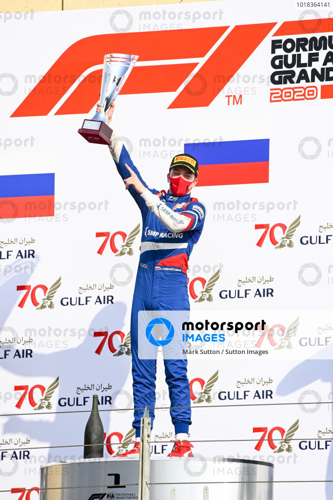 Race Winner Robert Shwartzman (RUS, PREMA RACING) celebrates on the podium with the trophy