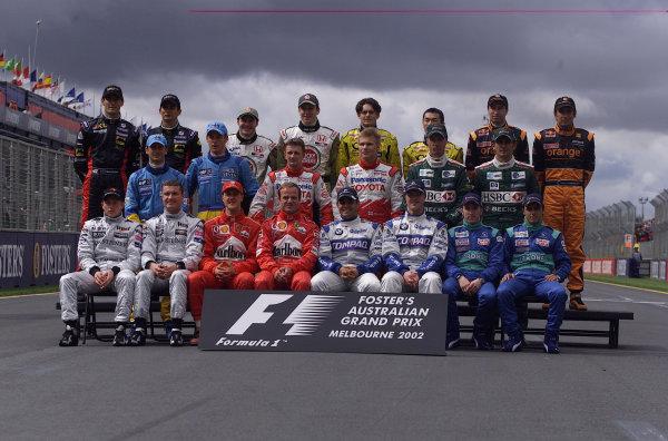 2002 Qantas Australian Grand Prix - Race.Albert Park, Melbourne, Australia. 3rd March 2002.Driver line up.World Copyright - Steve Etherington/LAT PhotographicRef: 18MB Digital Image Only
