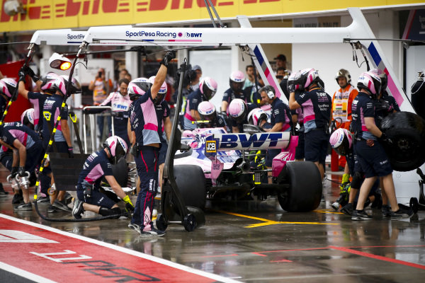 Lance Stroll, Racing Point RP19, makes a pit stop during practice