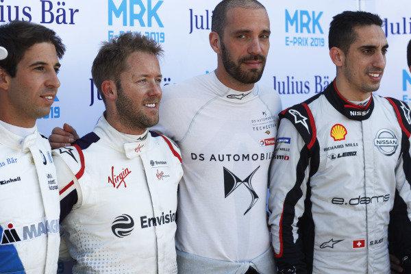 Antonio Felix da Costa (PRT), BMW I Andretti Motorsports, Sam Bird (GBR), Envision Virgin Racing, Jean-Eric Vergne (FRA), DS TECHEETAH, and Sébastien Buemi (CHE), Nissan e.Dams