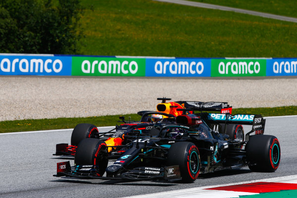Lewis Hamilton, Mercedes F1 W11 EQ Performance, leads Max Verstappen, Red Bull Racing RB16
