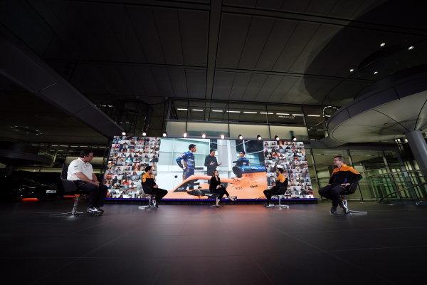 Zak Brown, CEO, McLaren Racing, Lando Norris, Natalie Pinkham, Daniel Ricciardo, and Andreas Seidl, Team Principal, McLaren F1
