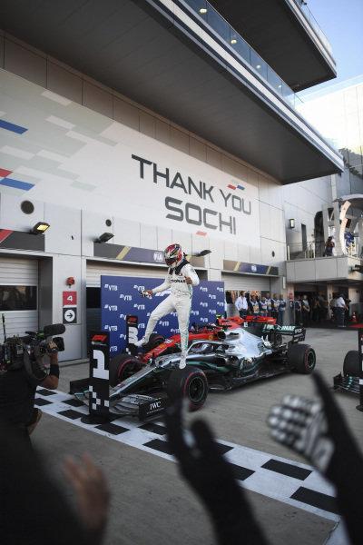 Lewis Hamilton, Mercedes AMG F1, 1st position, celebrates in Parc Ferme