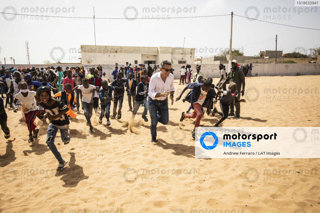 Alejandro Agag, CEO, Extreme E, races school pupils on the Eco Zone Legacy Project visit