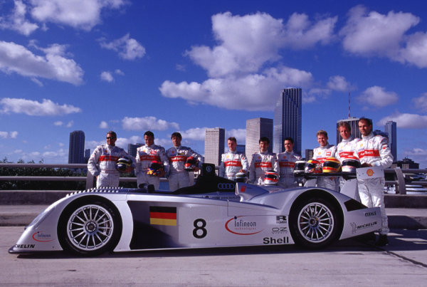 2000 Audi R8 Launch.Miami Beach, Florida, USA.Audi introduces the new R8 race car and drivers for the Le Mans 24 Hours and the ALMS series in Miami Beach, Florida. Drivers from L-R: Michele Alboreto, Christian Abt, Rinaldo Capello, Allan McNish, Stephane Ortelli, Laurent Aiello, Tom Kristensen, Frank Biela, Emanuele Pirro.World Copyright - Richard Dole/LAT