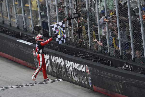 #20: Christopher Bell, Joe Gibbs Racing, Toyota Supra Rheem celebrates his win