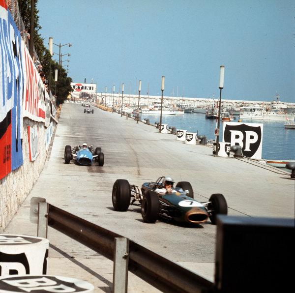 Monte Carlo, Monaco. 19-22 May 1966.Jack Brabham (Brabham BT19 Repco) leads Guy Ligier (Cooper T81 Maserati).Ref-3/2094.World Copyright - LAT Photographic