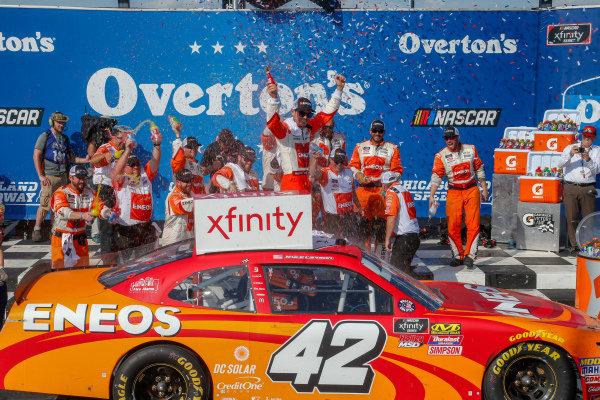 #42: Kyle Larson, Chip Ganassi Racing, Chevrolet Camaro ENEOS in victory lane