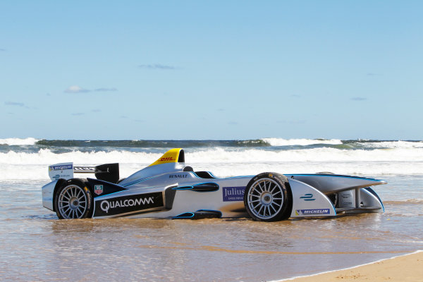 FIA Formula E Test Day. Formula E Car on the beach. Punta Del Este, Uruguay, South America. Formula E Third Race Event, 11th - 14th December 2014. Sunday 14 December 2014.  Photo: Adam Warner/LAT/FE ref: Digital Image _A8C1141