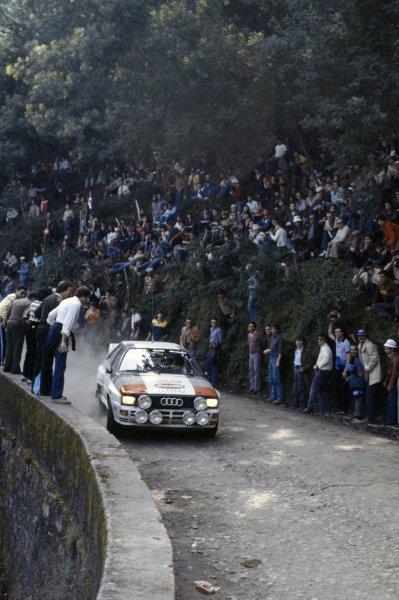 1983 World Rally Championship.Portuguese Rally, Portugal. 2-5 March 1983.Hannu Mikkola/Arne Hertz (Audi Quattro A1), 1st position.World Copyright: LAT PhotographicRef: 35mm transparency 83RALLY03