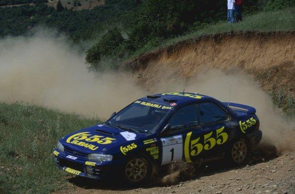 1996 World Rally Championship.Acropolis Rally, Greece. 2-4 June 1996.Colin McRae/Derek Ringer (Subaru Impreza 555), 1st position.World Copyright: LAT PhotographicRef: 35mm transparency 96RALLY04
