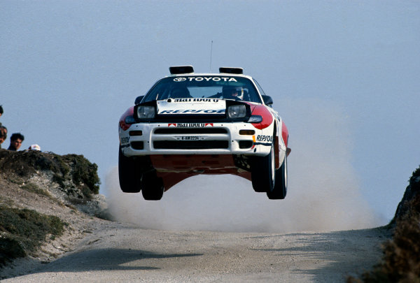 Portuguese Rally, Portugal. 3rd - 7th March 1992. Rd 3. Armin Schwarz / Arne Hertz  (Toyota Celica Turbo 4WD), retired, action. World Copyright: LAT Photographic. Ref: 35mm transparency.