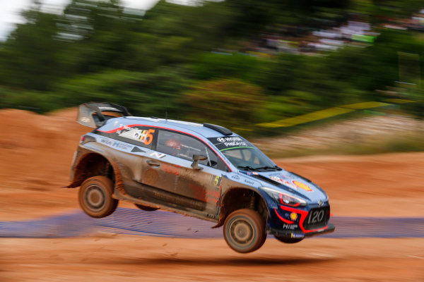Thierry Neuville comes down to land his Hyundai i20 WRC