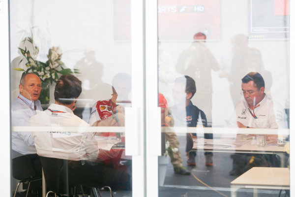 Circuit Gilles Villeneuve, Montreal, Canada. Friday 5 June 2015. Ron Dennis, Executive Chairman, McLaren Automotive, Toto Wolff, Executive Director (Business), Mercedes AMG, Mauricio Arrivabene, Team Principal, Ferrari, Christian Horner, Team Principal, Red Bull Racing and Eric Boullier, Racing Director, McLaren meet in the paddock. World Copyright: Alastair Staley/LAT Photographic. ref: Digital Image _79P1664