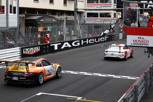 Porsche Supercup Round 2 Monte Carlo, Monaco. Sunday 24 May 2015. Jaap van Lagen, No.7 Fach Auto Tech, and Philipp Eng, No.17 Market Leader by Project 1, take the chequered flag. World Copyright: Sam Bloxham/LAT Photographic. ref: Digital Image _SBL1197
