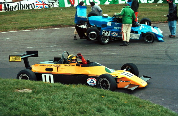 Race winner Ayrton Senna (BRA) Rushen Green Racing Van Diemen RF82 celebrates his victory as the tangled misfortunes of others are cleared up. British Formula Ford 2000 Championship, Oulton Park, England, 27 March 1982.