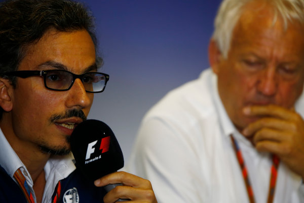 Hungaroring, Budapest, Hungary.  Thursday 27 July 2017. Laurent Mekies, F1 Deputy Race Director, FIA, and Charlie Whiting, Race Director, FIA, host a press conference about the introduction of the halo. World Copyright: Andy Hone/LAT Images  ref: Digital Image _ONY8468