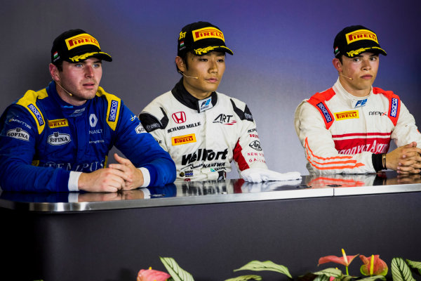 2017 FIA Formula 2 Round 7. Hungaroring, Budapest, Hungary. Sunday 30 July 2017. Oliver Rowland (GBR, DAMS), Nobuharu Matsushita (JPN, ART Grand Prix), Nyck De Vries (NED, Rapax).  Photo: Zak Mauger/FIA Formula 2. ref: Digital Image _54I5016