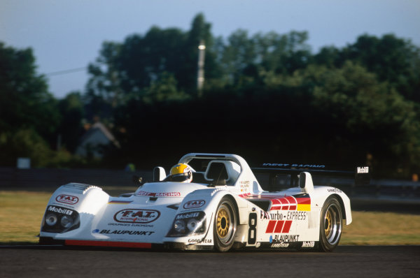 Le Mans, France. 15th - 16th June 1996.Didier Theys/Michele Alboreto/Pierluigi Martini (TWR Porsche WSC 95), retired, action. World Copyright: LAT Photographic.Ref:  96LM04.