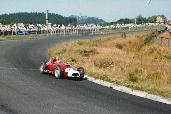 Nurburgring, Germany. 2-4 August 1957. Luigi Musso, Lancia-Ferrari D50 801, 4th position. Ref: 57GER14. World Copyright - LAT Photographic