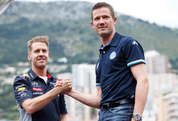 Monte Carlo, Monaco 22nd May 2013 Sebastian Vettel, Red Bull Racing meets Sebastian Ogier World Copyright: Glenn Dunbar/LAT Photographic ref: Digital Image _89P7490