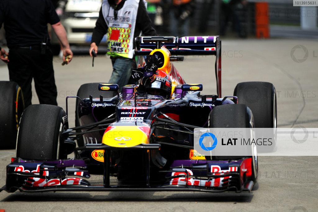 Shanghai International Circuit, Shanghai, China Saturday 13th April 2013 Sebastian Vettel, Red Bull RB9 Renault, arrives in Parc Ferme. World Copyright: Andy Hone/LAT Photographic ref: Digital Image HONY6235