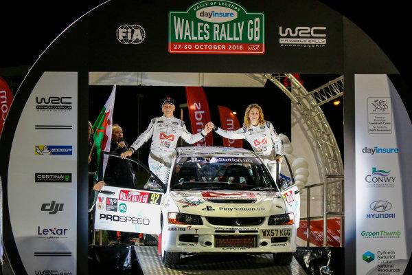 2016 FIA World Rally Championship, Round 13, Wales Rally GB 2016 October 27 - 30, 2016, Tony Jardine, Amy Williams, Mitsubishi, Ceremonial Start Worldwide Copyright: McKlein/LAT