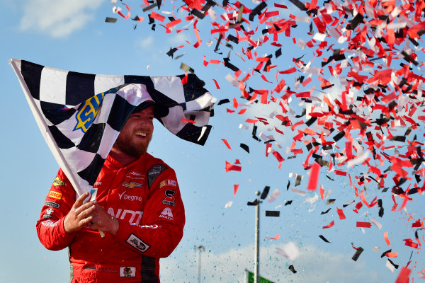 NASCAR XFINITY Series TheHouse.com 300 Chicagoland Speedway, Joliet, IL USA Saturday 16 September 2017 Justin Allgaier, BRANDT / Celebrating the Future of AG Chevrolet Camaro celebrates in victory lane after winning  World Copyright: Logan Whitton LAT Images