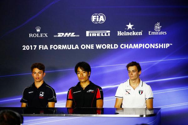 Autodromo Nazionale di Monza, Italy. Friday 1 September 2017 Nyck De Vries (NED, Racing Engineering). Nobuharu Matsushita (JPN, ART Grand Prix). and Louis Deletraz (SUI, Rapax). Photo: Hone/FIA Formula 2 ref: Digital Image _ONZ1941