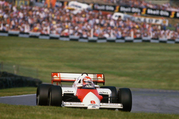 Brands Hatch, England. 20th - 22nd July 1984.Niki Lauda (McLaren MP4-2 TAG Porsche) 1st position, action. World Copyright: LAT Photographic.Ref:  84GB51.