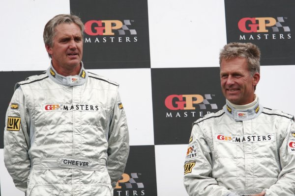 2006 Grand Prix Masters.Silverstone, England. 11th - 13th August.Eddie Cheever and  Christian Danner celebrate on the podium.Portrait.World Copyright: Drew Gibson/LAT Photographic.Ref: Digital Image Only.