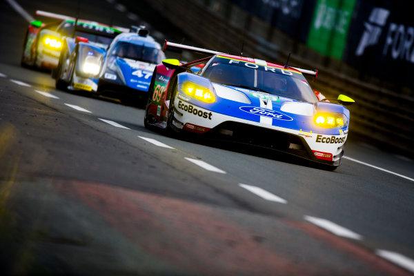 2016 Le Mans 24 Hours. Circuit de la Sarthe, Le Mans, France. Saturday 18 June 2016. Ford Chip Ganassi Team USA / Ford GT - Ryan Briscoe (AUS), Richard Westbrook (GBR), Scott Dixon (NZL).  World Copyright: Zak Mauger/LAT Photographic ref: Digital Image _79P6705