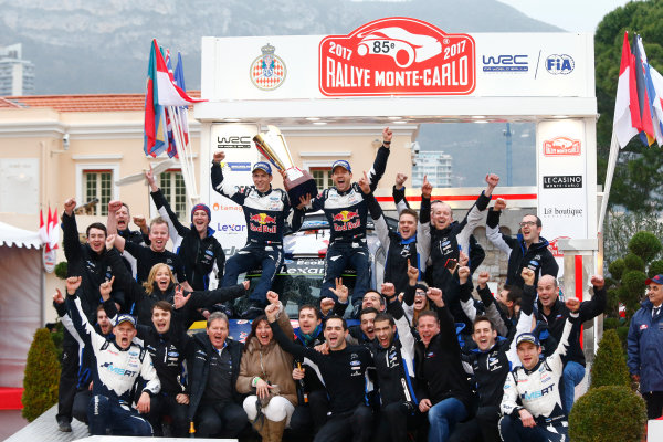 2017 FIA World Rally Championship, Round 01, Rally Monte Carlo, January 18-22, 2017, Sebastien Ogier, Julien Ingrassia, Ford Team Podium, Worldwide Copyright: McKlein/LAT