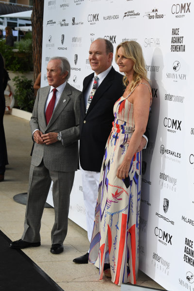 Monte Carlo, Monaco. Friday 26 May 2017. Jackie Stewart (GBR), HSH Prince Albert of Monaco (MON) and Sonia Irvine (IRL) at the Amber Lounge Fashion Show, Le Meridien Beach Plaza Hotel, Monaco World Copyright: Mark Sutton/Sutton/LAT Images ref: Digital Image dcd1727my425