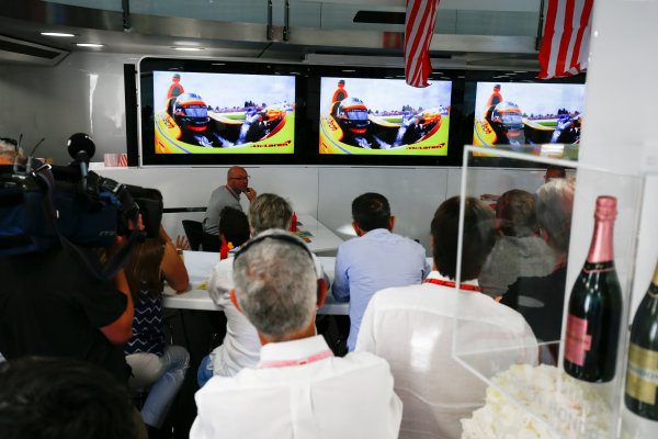 Monte Carlo, Monaco. Sunday 28 May 2017. McLaren adopts a distinctly American feel in the hospitality area, in celebration of their participation in the Indy 500 with Fernando Alonso, McLaren. World Copyright: Andy Hone/LAT Images ref: Digital Image _ONZ0920