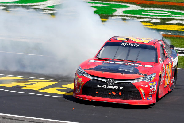 2017 NASCAR Xfinity Series My Bariatric Solutions 300 Texas Motor Speedway, Fort Worth, TX USA Saturday 8 April 2017 Erik Jones, Game Stop/ GAEMS Toyota Camry celebrates his win with a burnout World Copyright: Russell LaBounty/LAT Images ref: Digital Image 17TEX1rl_2599