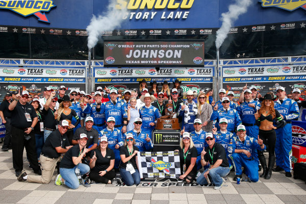 2017 Monster Energy NASCAR Cup Series O'Reilly Auto Parts 500 Texas Motor Speedway, Fort Worth, TX USA Sunday 9 April 2017 Jimmie Johnson celebrates in victory lane  World Copyright: Russell LaBounty/LAT Images ref: Digital Image 17TEX1rl_5255