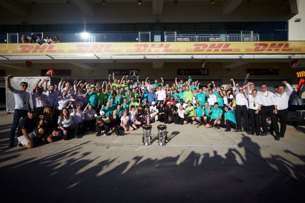 Circuit of the Americas, Austin, Texas, United States of America. Sunday 22 October 2017. Lewis Hamilton, Mercedes AMG, 1st Position, and the Mercedes team celebrate victory in the race and the Constructors Championship. World Copyright: Steve Etherington/LAT Images  ref: Digital Image SNE19879