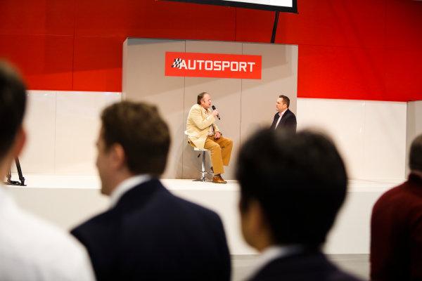 Autosport International Exhibition. National Exhibition Centre, Birmingham, UK. Thursday 11th January 2017. Bruce Wood of Cosworth talks to Henry-Hope Frost on the Autosport stage,World Copyright: Joe Portlock/LAT Images Ref: _U9I9876